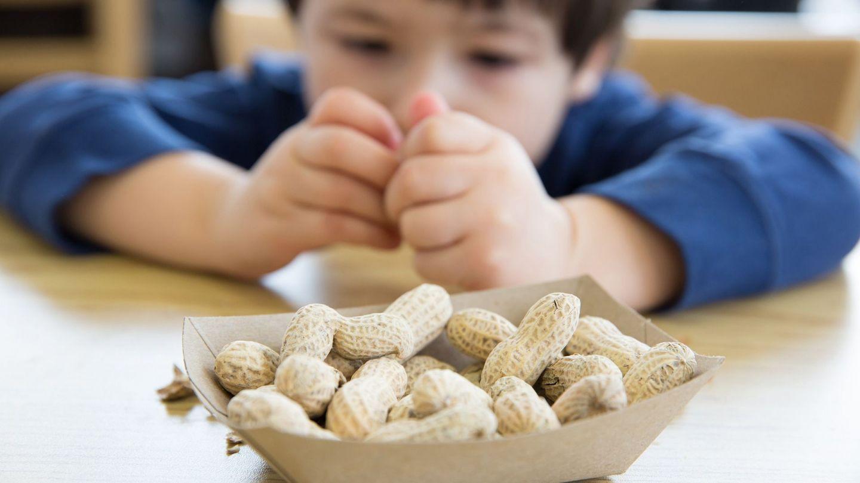 Nahrungsmittelallergie: Ein Junge sitzt an einem Tisch vor einer Schale mit Erdnüssen.